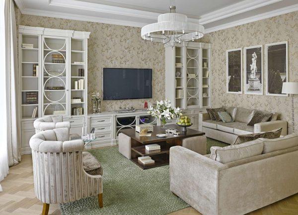 мебель в гостиной в современной классике