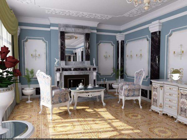 зеркало в гостиной в стиле современной классики