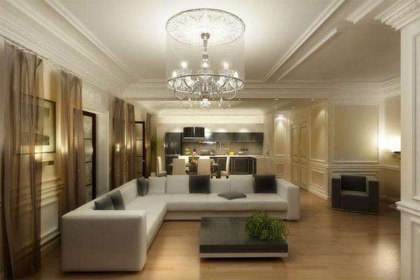 освещение в гостиной в современной классике