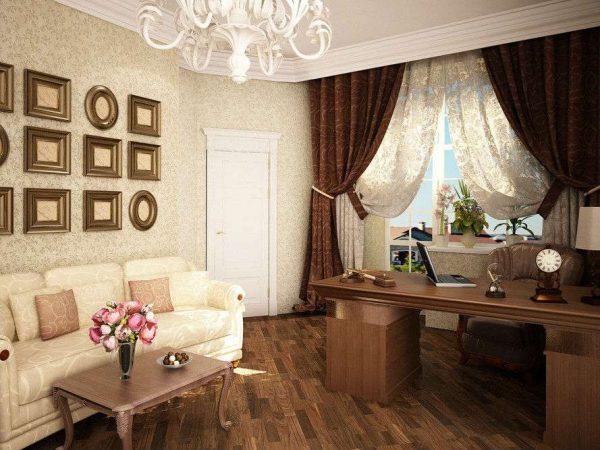коричневый цвет в гостиной в современной классике
