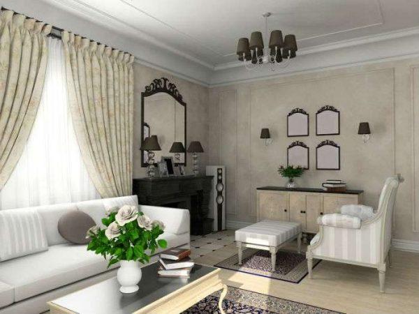 цветы в гостиной в современной классике