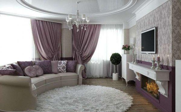фиолетовый цвет в гостиной в современной классике