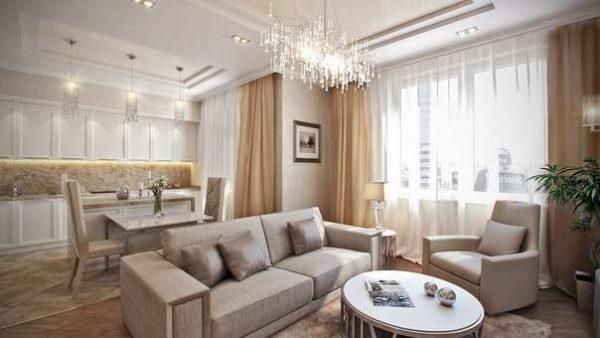 бежевые оттенки в гостиной в современной классике