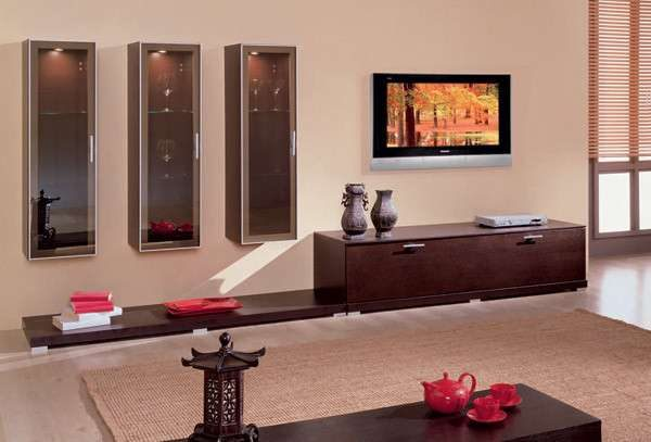 модульные подвесные шкафы в интерьере гостиной