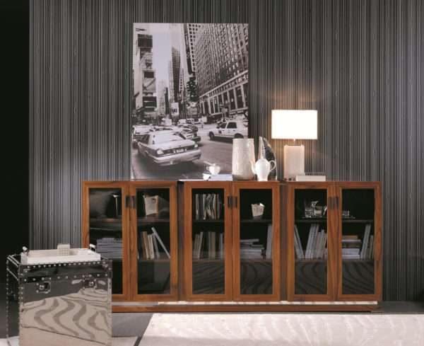 прозрачная стенка из дерева в интерьере гостиной