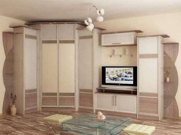 белая стенка со шкафом для гостиной
