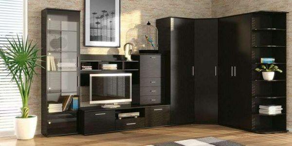 чёрная модульная стенка со шкафом для гостиной