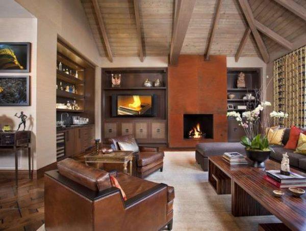 коричневая мебельная стенка в интерьере гостиной