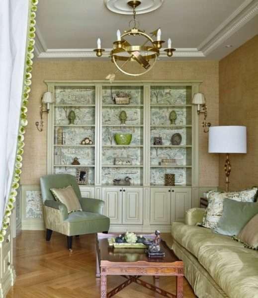 мебельная стенка в стиле прованс в интерьере гостиной