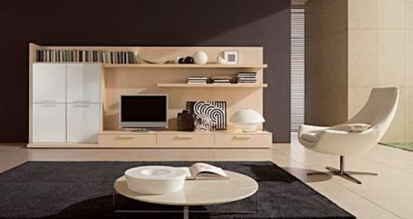 мебельная стенка в интерьере гостиной бежевого цвета