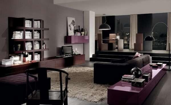 мебельная стенка цвета венге в интерьере гостиной