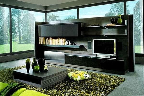 мебельная стенка-остров в интерьере гостиной