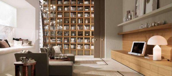 мебельная стенка в интерьере гостиной с библиотекой