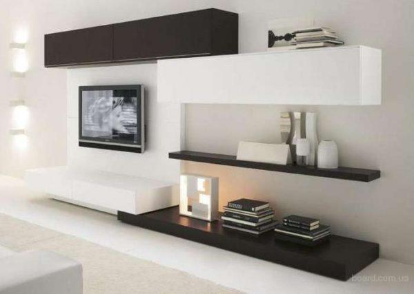 стильная мебельная стенка в интерьере гостиной