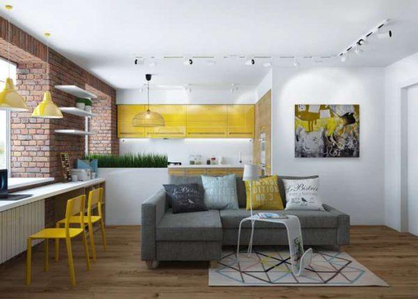 угловой диван серого цвета в интерьере гостиной