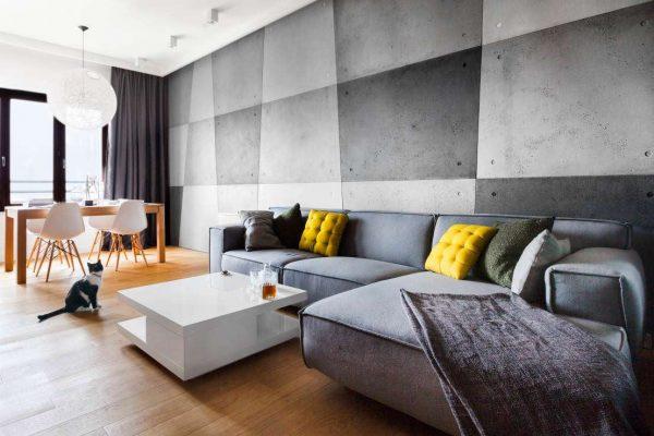 серый угловой диван в интерьере гостиной