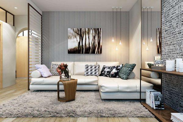 угловой диван белого цвета в гостиной