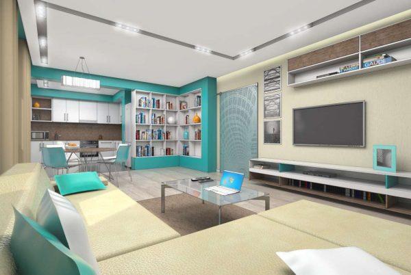 зонирование кухни гостиной 20 кв.м. с помощью бирюзового оттенка