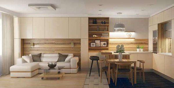 Кухня, совмещённая с гостиной на площади 20 кв. метров