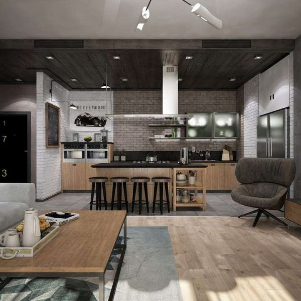 кухня-гостиная в стиле лофт 20 кв.м