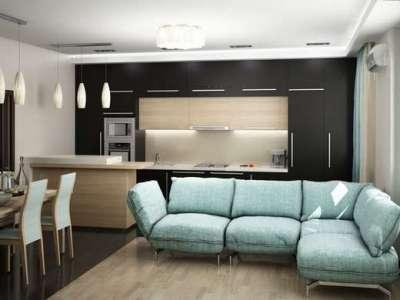 лаконичный интерьер кухни гостиной 20кв.м