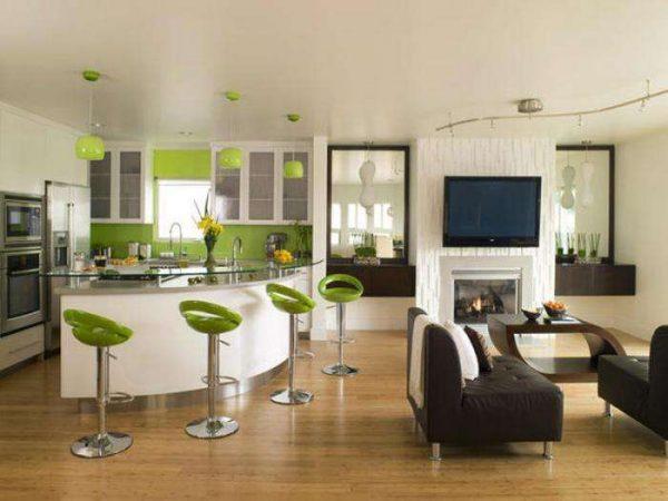 зонирование мебелью и барной стойкой в кухне гостиной 20 кв. метров