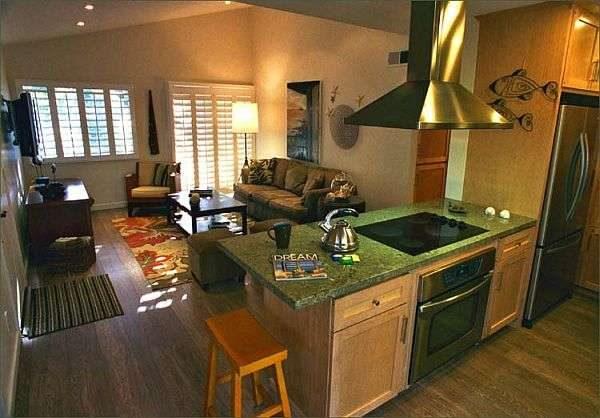 в интерьере кухни-гостиной 20 кв.м. зонирование с помощью мебели