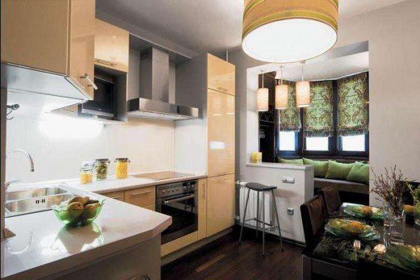 зонирование кухни гостиной 20 кв.м. с балконом