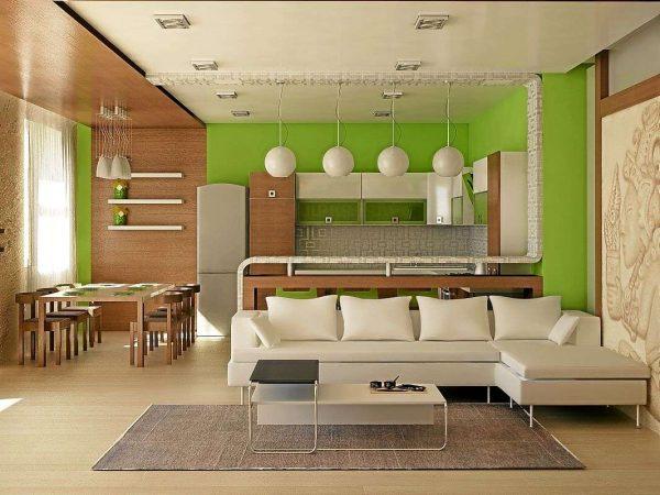 зонирование кухни гостиной 20 кв.м. с помощью отделки