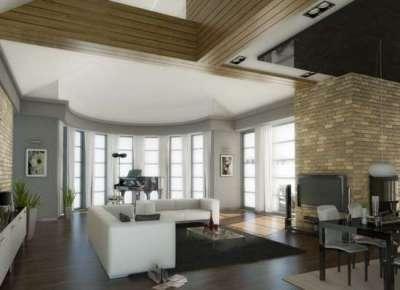 серые стены в гостиной создают лаконичный фон