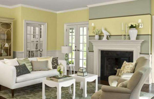 серый и жёлтый в интерьере гостиной