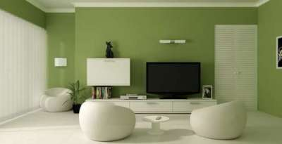 зелёный цвет стен в интерьере гостиной очень умиротворяет