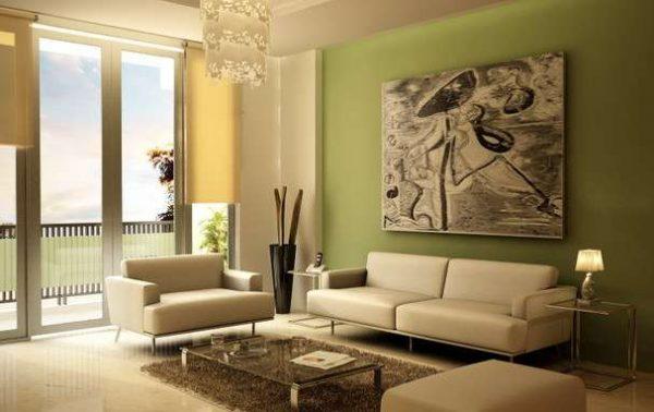 оливковый в интерьере гостиной
