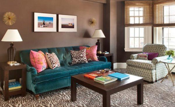 шоколадные цвета в гостиной очень уютные
