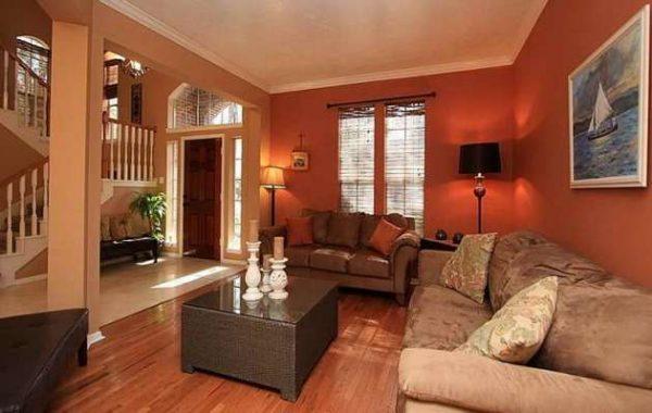 коричневый цвет стен в интерьере гостиной делают её уютной