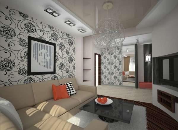 Дизайн гостиной с обоями на стенах