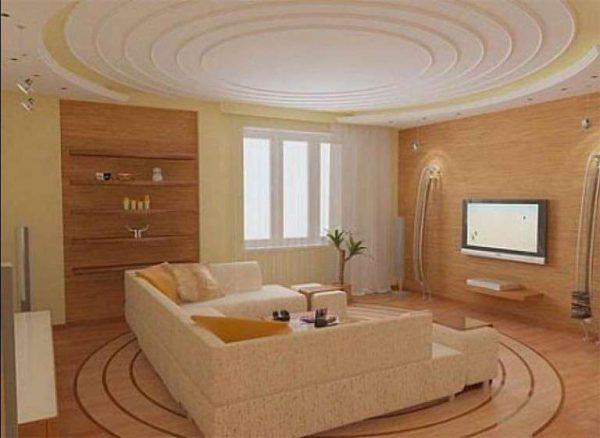 круглая конструкция потолка в гостиной