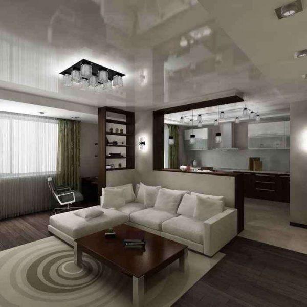 натяжной глянцевый потолок в интерьере гостиной