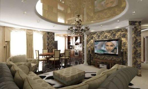 Дизайн проходной гостиной с кухней столовой