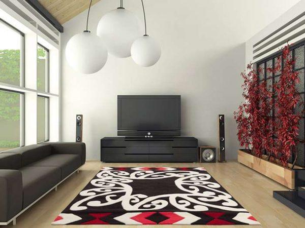 в интерьере гостиной в стиле минимализм красный ковёр