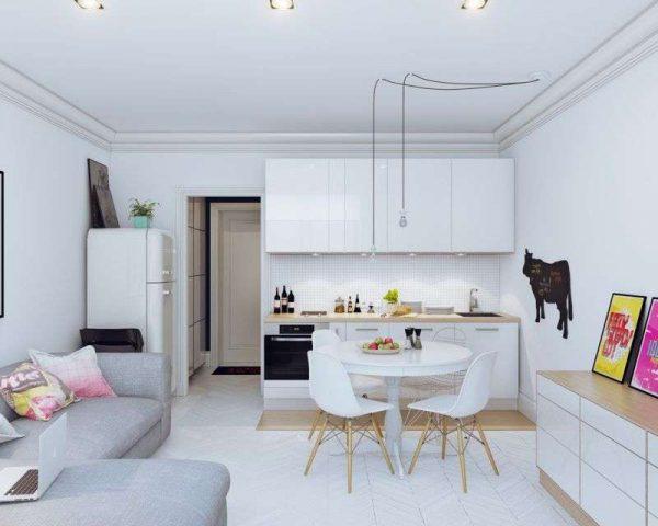белый дизайн небольшой гостиной
