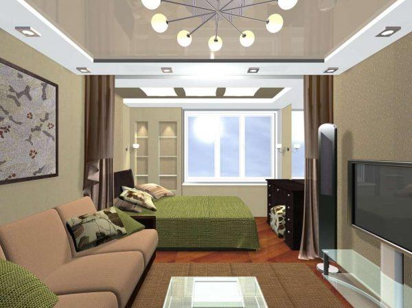 Дизайн гостиной с зонированием шторами
