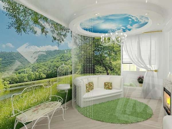 шторы из бусин в интерьере небольшой гостиной