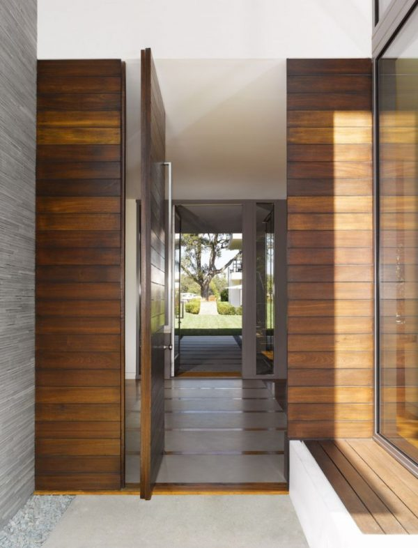 exterior-the-entrance-hall-with-wooden-wall-design-equipped-with-two-glass-walls-of-gray-wood-and-glass-entrance-and-garden-beautiful-hallway-design-ideas