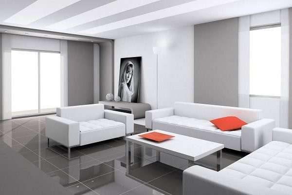 белая мебель в интерьере гостиной в стиле хай тек