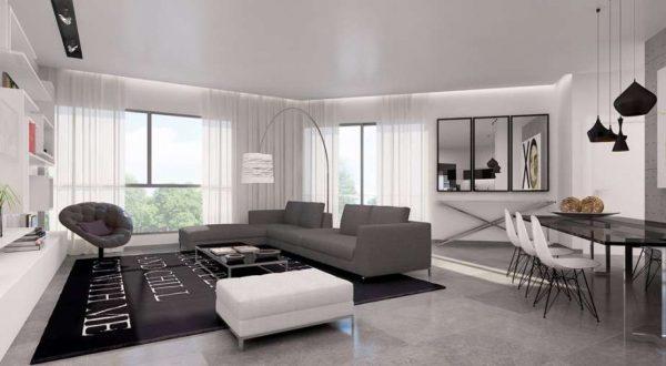 освещение в интерьере гостиной в стиле хай тек