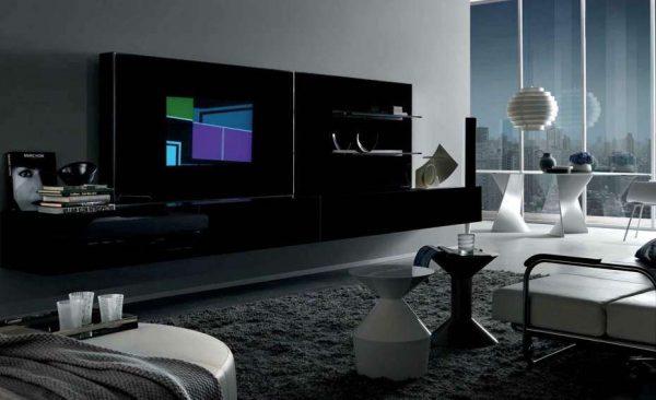 чёрная мебель в интерьере гостиной в стиле хай тек