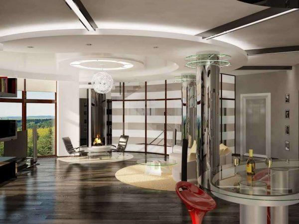 интерьер гостиной хай тек с многоуровневым потолком