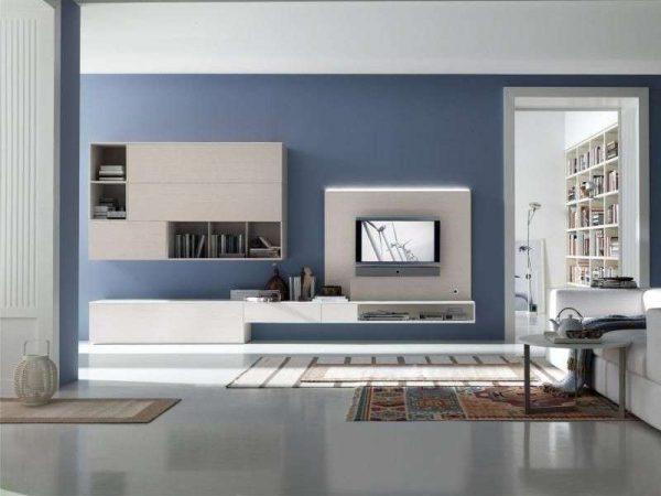 серо-голубой цвет в интерьере гостиной в стиле хай тек