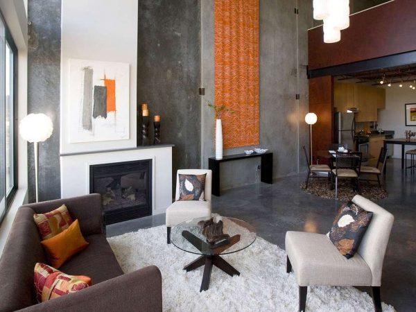 серый в интерьере гостиной в стиле хай тек